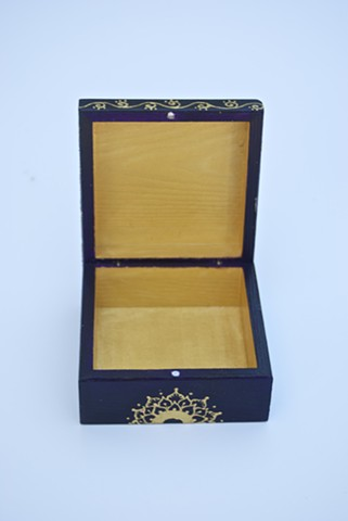 Inside view of hand painted decorative box