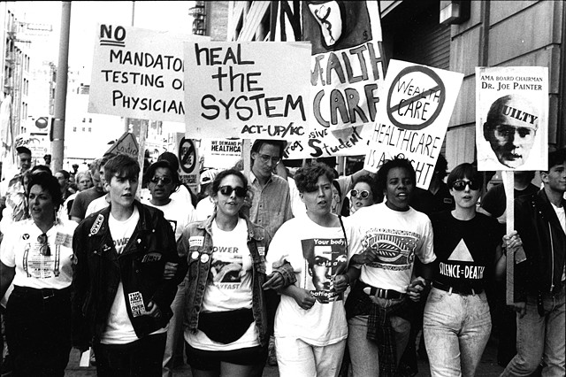 "Women wearing ""Power Breakfast"" t-shirt during AMA demo, Chicago, June 1991. Photograph Genyphyr Novak"