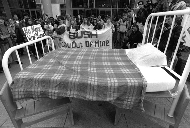 Freedom Bed performance action, Chicago, 1989. Photograph Steve Dalber