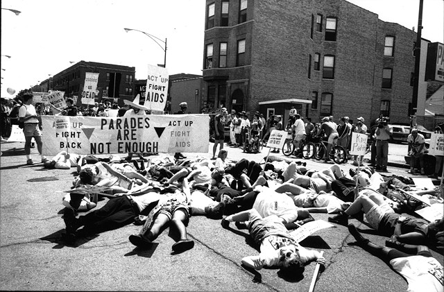 ACT UP + Queer Nation die-in, Chicago, 1992. Photograph Genyphyr Novak