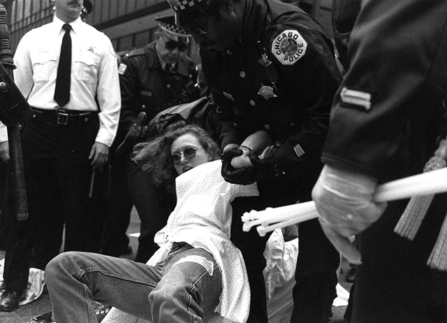 ACT UP Women's Caucus direct action, City Hall, Chicago, April 1990. Photograph Linda Miller