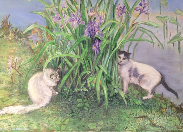 blue flag iris, cats, cats and blue flag iris, drawing, pastel, painting