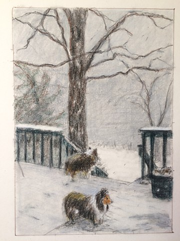 sketch of dogs in the snow