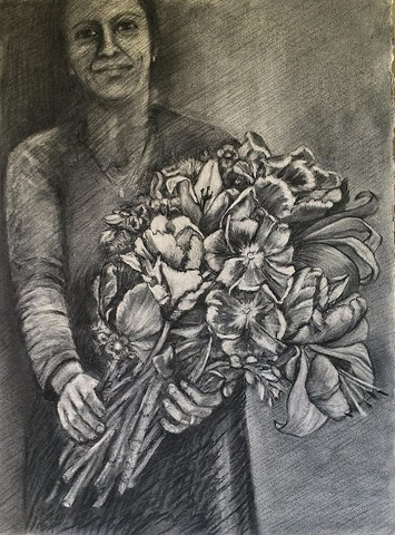 Woman gives bouquet of flowers to viewer, charcoal drawing