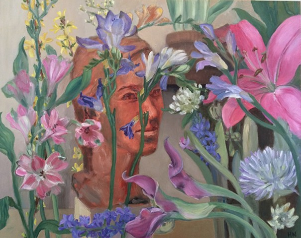 hyacinths, freesia, forsythia, alstromeria, pink lily and other flowers with portrait bust