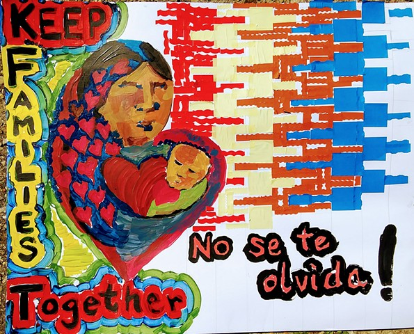Artists, residents gather at Hyde Park Art Center to make posters for immigration march
