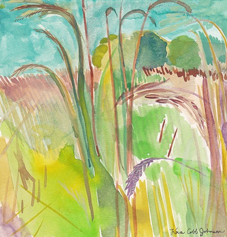 Watercolor Dreamlike Landscape painting of Nature on Illinois Prairie