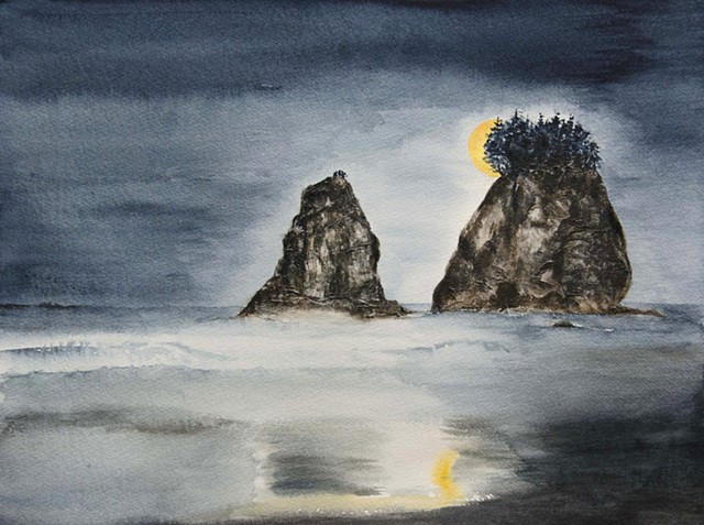 Moon Over Beach (Sold)