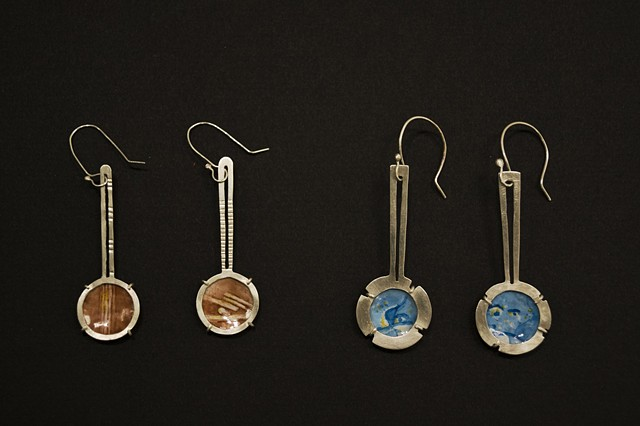 Athens, Santorini, earrings, enamels, enameling