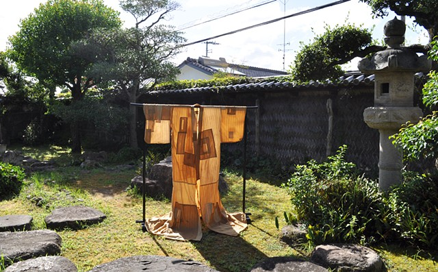 """Shoyu Yukata"" and ""Green Space"" - part of a group exhibition ""The Dust of The World, Washed by The Droplets of Dew"" in Hiketa, Higashikagawa, Japan"