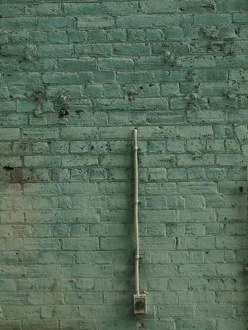 Lance Ward artist green series brick wall light fitting red globe 2011 pipe pastel colours noire noir