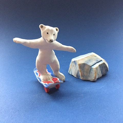 porcelain bear skateboarding