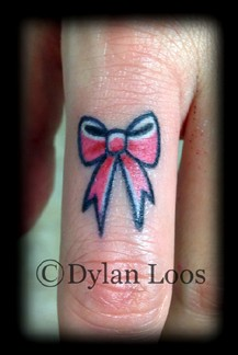Blind Tiger Tattoo Phoenix Arizona Dylan Loos Art bow tie pink finger