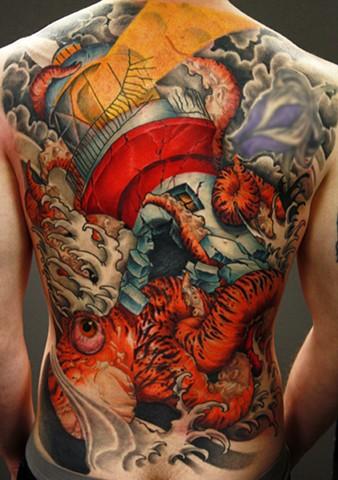 lighthouse tattoo, arizona tattoo, tattoo artist, Eric James, octopus, Phoenix AZ., octopus tattoo