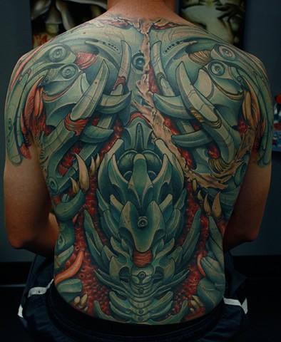Bio mechanical tattoo, best tattoo arizona, eric james tattoo, the blind tiger, color tattoo, back piece tattoo