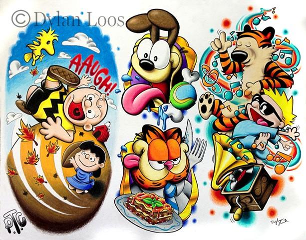 the blind tiger tattoo dylan loos art phoenix arizona comic charlie brown peanuts calvin and hobbes garfield
