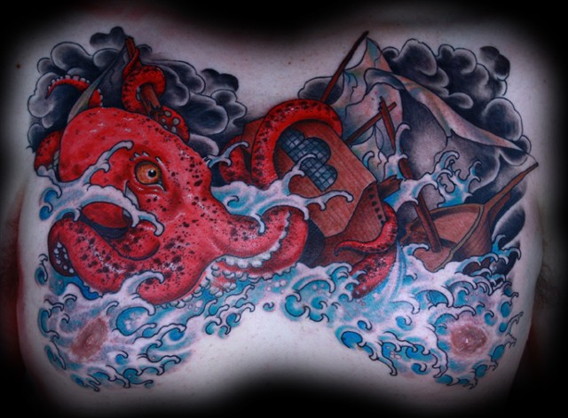 octopus tattoo, clipper ship tattoo, chest tattoo, eric james tattoo, arizona tattoo, phoenix tattoo