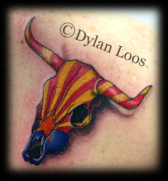 Blind Tiger Tattoo Phoenix Arizona Dylan Loos Art az flag cow skull steer long horn color