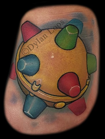 dylan loos art dloosart tattoo phoenix arizona az bumble ball color foot toy