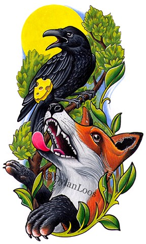 the blind tiger tattoo dylan loos art phoenix arizona fable fox and crow