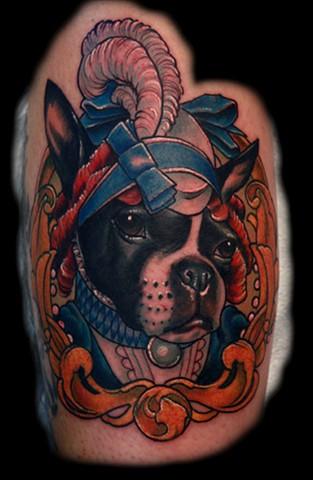 french bulldog tattoo, dog portrait, color tattoo, blind tiger tattoo, eric james tattoo