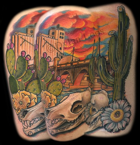 dylan loos art dloosart tattoo phoenix arizona az mill tempe ave bridge coyote cactus color thigh