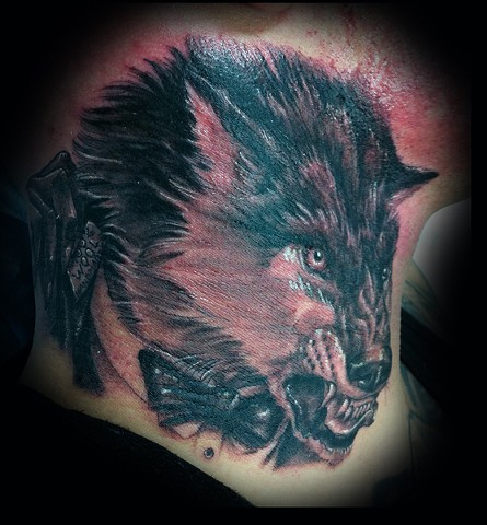 wolf in sheep's clothing tattoo Eric James tattoos Phoenix Arizona best tattoos black and gray tattoo neck