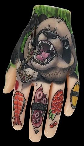 dylan loos art dloosart tattoo phoenix arizona az pound of flesh panda chinese food sushi color hand tattoo