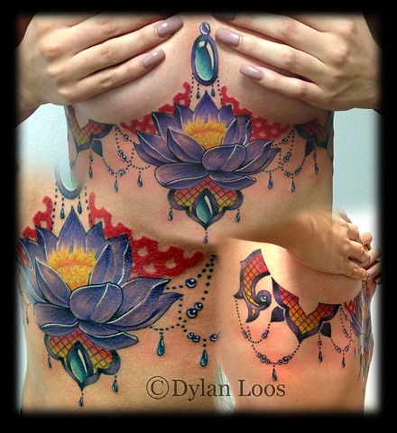 Blind Tiger Tattoo Phoenix Arizona Dylan Loos Art under boob breast chest jewels lotus flower design
