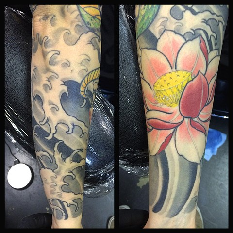lotus tattoo, color tattoo, eric james tattoo, eric james, the blind tiger tattoo, arizona tattoo artist, phoenix tattoo artist, flower tattoo, lotus flower