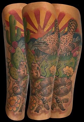dylan loos art dloosart tattoo phoenix arizona az desert cactus rattlesnake wren flag