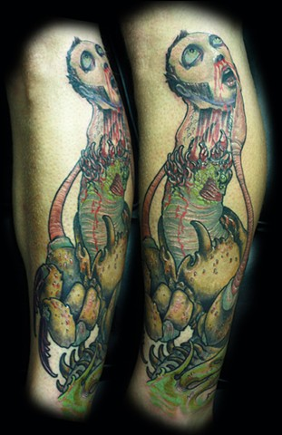 Eric james tattoo, best tattoo arizona, the blind tiger, bug tattoo, monster, nightmare, scary tattoo, color tattoo