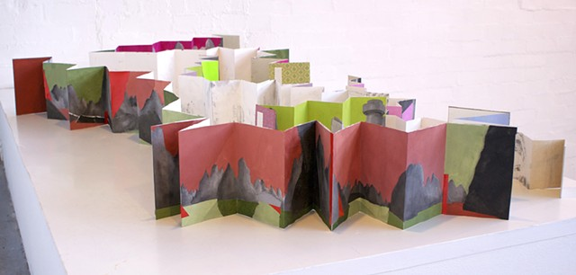 Concertina Artist book of chinese buildings mountains and highways by Merryn Trevethan