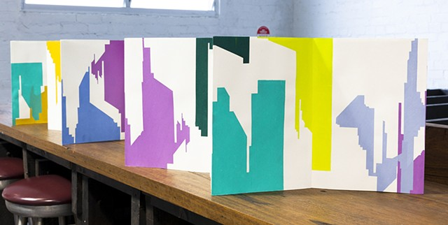 Screenprinted Concertina Artist book of cityscape by Merryn Trevethan