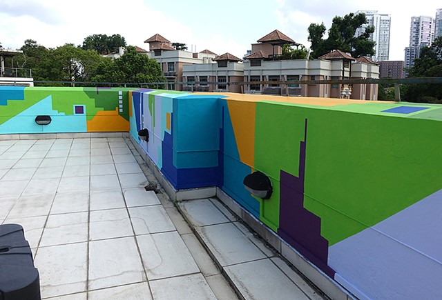 Rooftop Mural Artwork commisssion by Merryn Trevethan Singapore