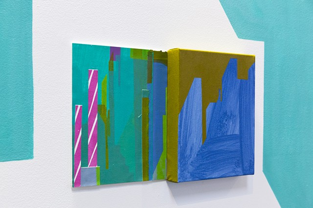 wall painting with paintings and silkscreen installation of abstracted cityscape by Merryn Trevethan