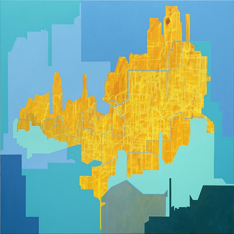 Merryn Trevethan Abstract cityscape painting