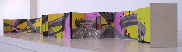 Concertina Artist book of Beijing Highways by Merryn Trevethan