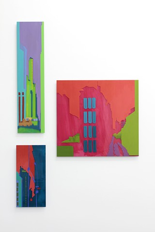 New York cityscapes on plexiglass by Merryn Trevethan