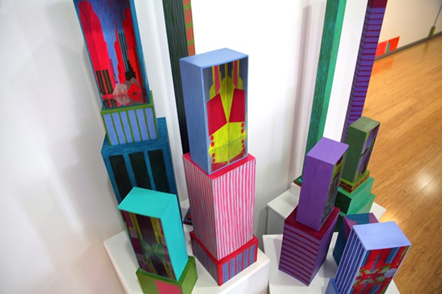 New York cityscapes in mirror boxes experiment installation by Merryn Trevethan