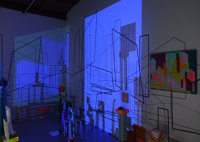 installation tape drawing projection cityscape by Merryn Trevethan