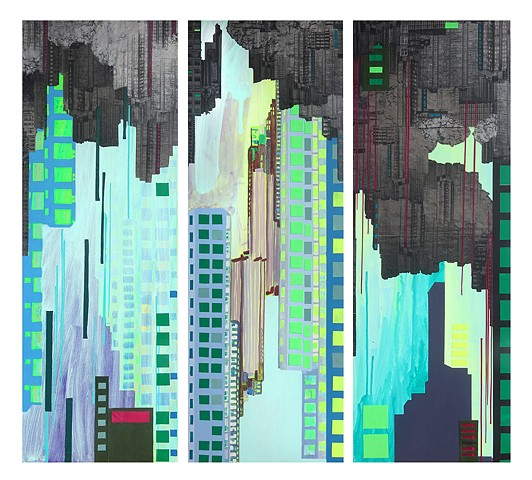 Floating cities cityscape painting by Merryn Trevethan