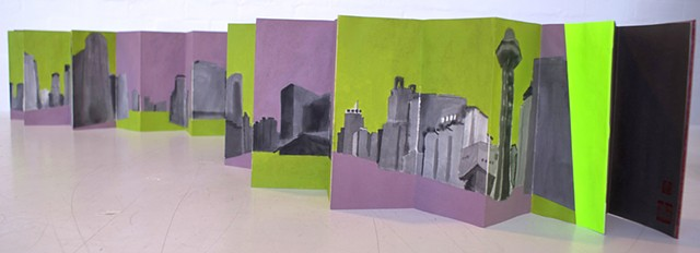 Concertina Artist book of Beijing Buildings by Merryn Trevethan