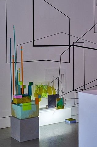 installation projection painting cityscape by Merryn Trevethan