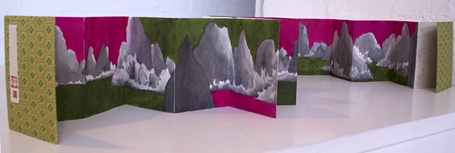 Concertina Artist book of chinese mountains by Merryn Trevethan