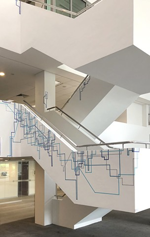 Tape Drawing on staircase by Merryn Trevethan