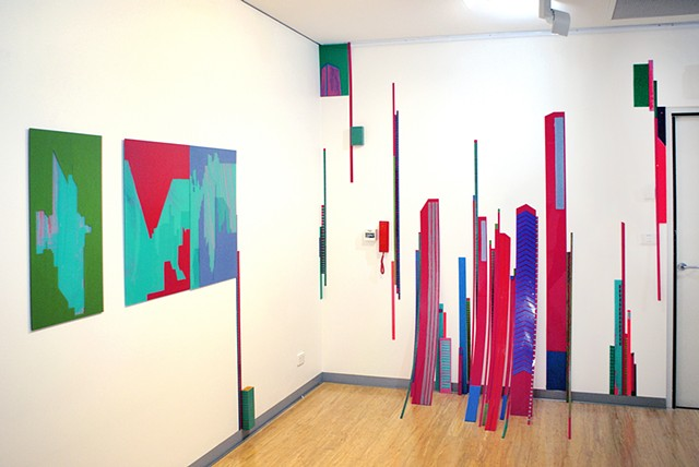 Exploded painting installation of perspex paintings by Merryn Trevethan