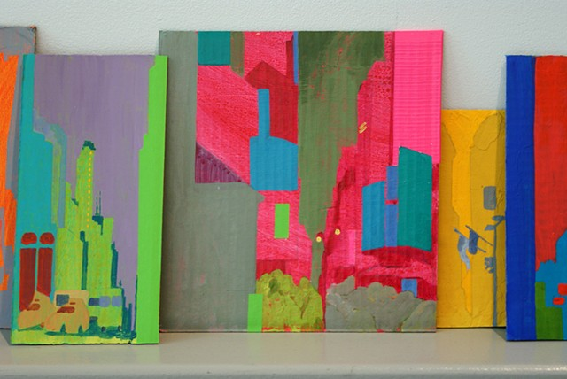 cityscapes on cardboard created during residency in New York by Merryn Trevethan