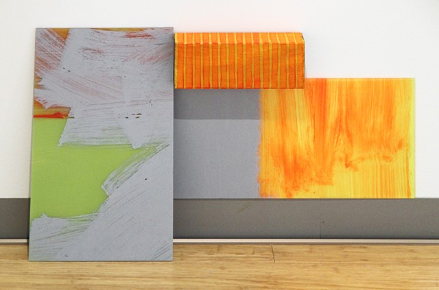 Abstract paintings on perspex with wood block Experiment Installation by Merryn Trevethan