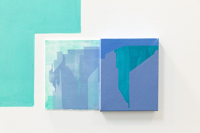 wall painting with paintings and monoprint installation of abstracted cityscape by Merryn Trevethan